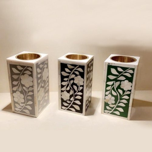Artistic Bone Inlay Candle Holders
