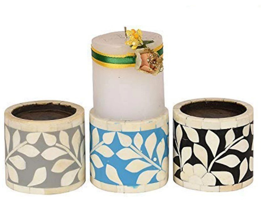 Dainty Bone Inlay Candle Holders