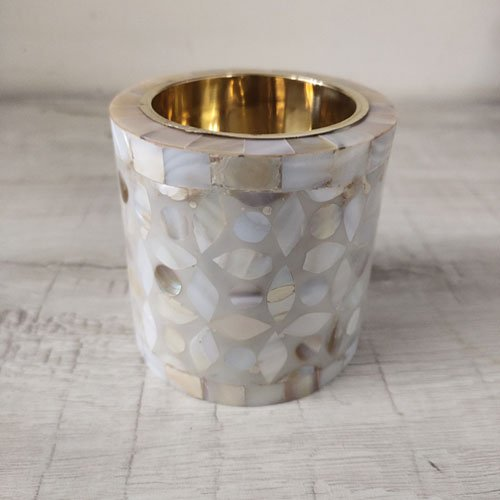 mother of pearl candle holders.