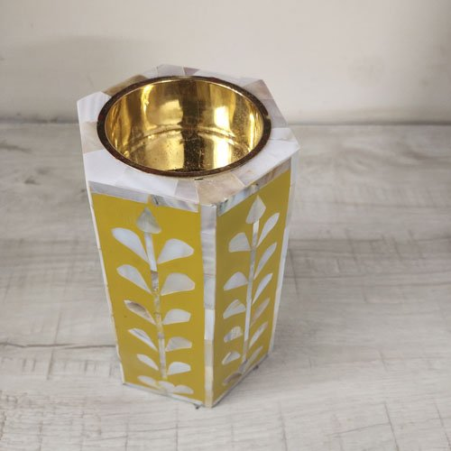 Mustard Beauty Mother of Pearl Candle Holder