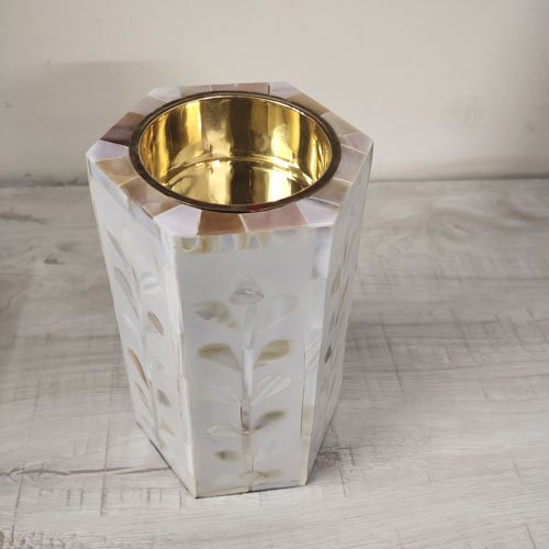 Dewdrop Pearls Mother of Pearl Candle Holder