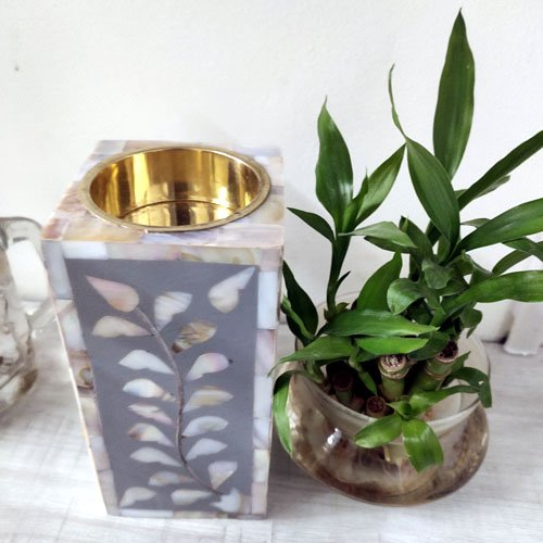 Gray Foliage Mother of Pearl Candle Holder