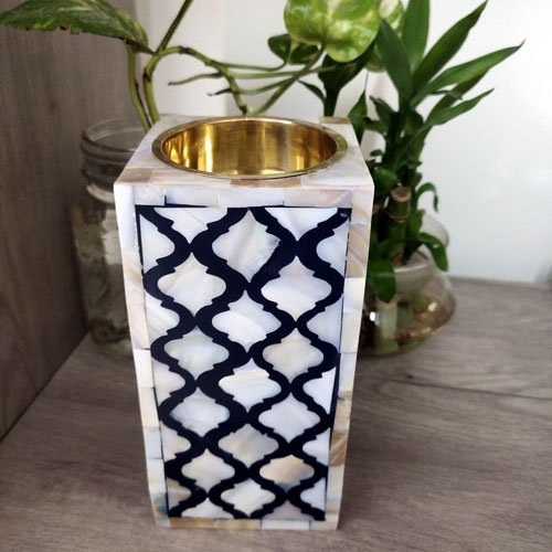 Grids Monochrome Mother of Pearl Candle Holder
