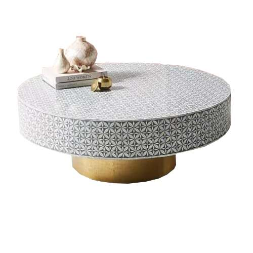 Oval Shaped Mother Of Pearl Coffee Table