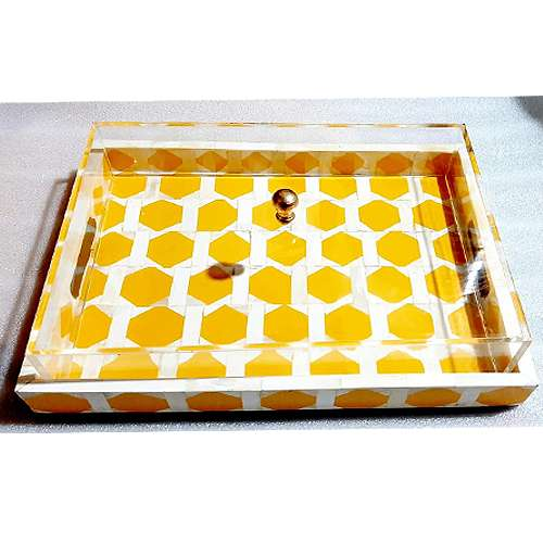 Acrylic Mother Of Pearl Tray Set